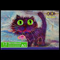 Альбом для малювання А5, 12 аркушів, скоба, захисний лак, 100 г / м2