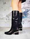 Демисезонные женские сапоги черного цвета, натуральная кожа 40 ПОСЛЕДНИЙ РАЗМЕР, фото 6