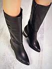 Демисезонные женские сапоги черного цвета, натуральная кожа 40 ПОСЛЕДНИЙ РАЗМЕР, фото 2