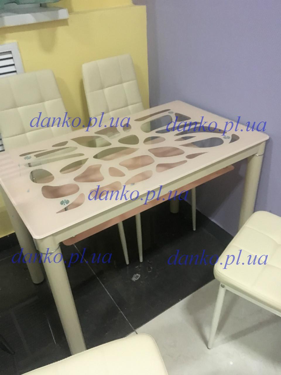 Стеклянный стол Т-300-2 кремовый с узором Vetro Mebel 100*60*76 (H)