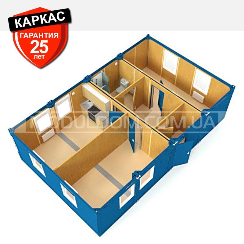Блок-контейнер ОПЕНСПЕЙС-4 (6 х 9.6 м.), площадь 57.6 кв.м2., на основе цельно-сварного металлокаркаса.