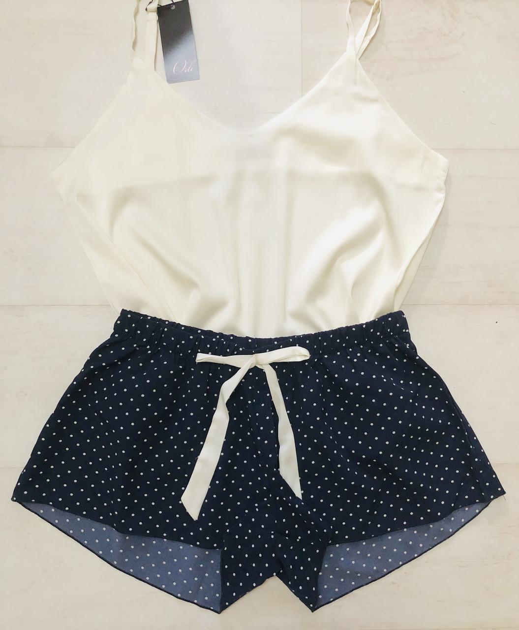 Шелковая пижама женская майка и шорты