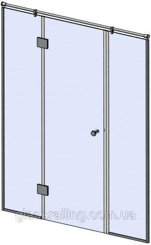 Скляна душова перегородка з глухими бічними стеклами