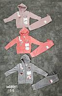 Велюровый костюм-двойка для девочек Setty Koop оптом, 1-5 лет. Артикул: IA88091