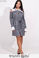 Платье с имитацией двойки на пуговицах, с рубашечным воротником открытыми плечами и съемным поясом X11704