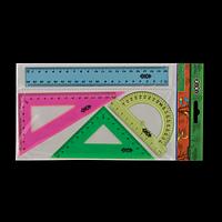Комплект: лінійка 20см, 2 трикутники, транспортир, тонований, асорті, фото 1