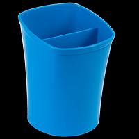 Стакан для письмового приладдя KVADRIK, квадратний, на 2 відділення, синій