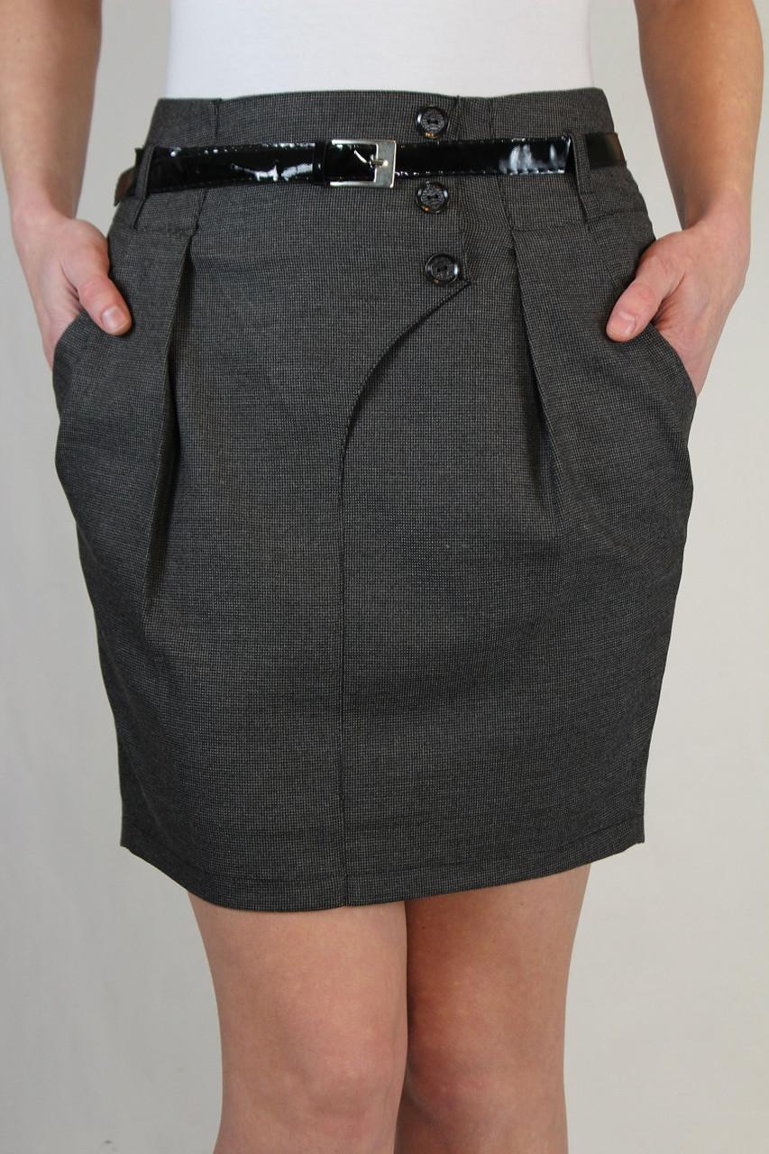 Серая деловая юбка 42-48 р