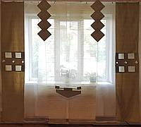 Комплект пенельных шторок и тюль оливковые полоски, фото 1