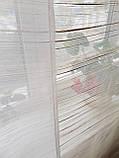 Комплект пенельных шторок и тюль оливковые полоски, фото 5