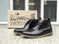Мужские туфли на меху в стиле VanKristi, натуральная кожа, черные 41 (27 см)