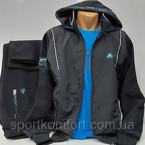 Турецкий тёплый спортивный костюм Soccer, тёмно-синий, тринитка, размер 52, 54.