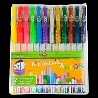 Набір з 12-ти гелевих ручок NEON+METALLIC