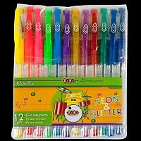 Набір з 12-ти гелевих ручок NEON+GLITTER