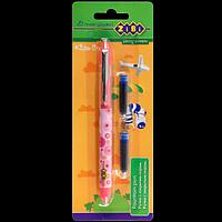Ручка з закритим пером + 2 змінні картриджи, картонний блістер, рожевий корпус