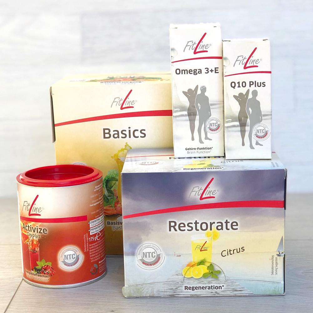 FitLine Жизненный тонус (Basics+Activize+Restorate+Q10+Omega 3) витаминное питание - PM International