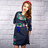 """Жіноча сукня з вишивкою """"Ружа"""" на синьому фоні, фото 3"""