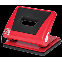 Діркопробивач пластиковий з гумовою вставкою, BUROMAX, 15 аркушів, червоний