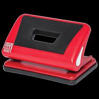 Діркопробивач пластиковий з гумовою вставкою, BUROMAX, 10 аркушів, червоний
