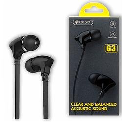 """Навушники """"Celebrat G3"""" з мікрофоном силікон плосский провід, чорний"""