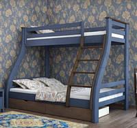 Кровать деревянная двухъярусная Аляска 90х200 Mebigrand сосна синий (S7010R90B) / орех темный