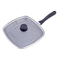 Сковорода-гриль Kamille 28см с крышкой и антипригарным покрытием черный мрамор из литого алюминия