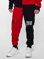 Теплые спортивные штаны Sad Smile (черно-красный)