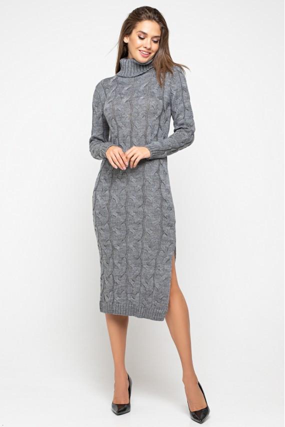 """Вязаное платье """"Ангелина""""- темно-серый"""