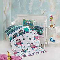 Детское постельное белье в кроватку, постельный комплект для новорожденных, Совы