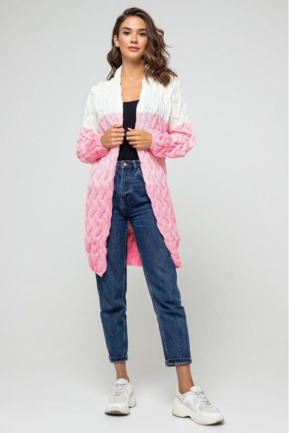 "Вязаный кардиган ""Лало меланж"" - Розовый, молочный"