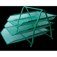 """Лоток для паперів горизонтальний """"3 в1"""" BUROMAX, металевий, зелений"""