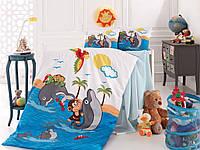 Детское постельное белье в кроватку, постельный комплект для новорожденных, Дельфины