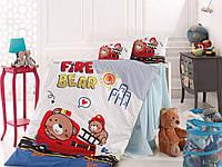 Детское постельное белье в кроватку, постельный комплект для новорожденных, Мишка пожарник