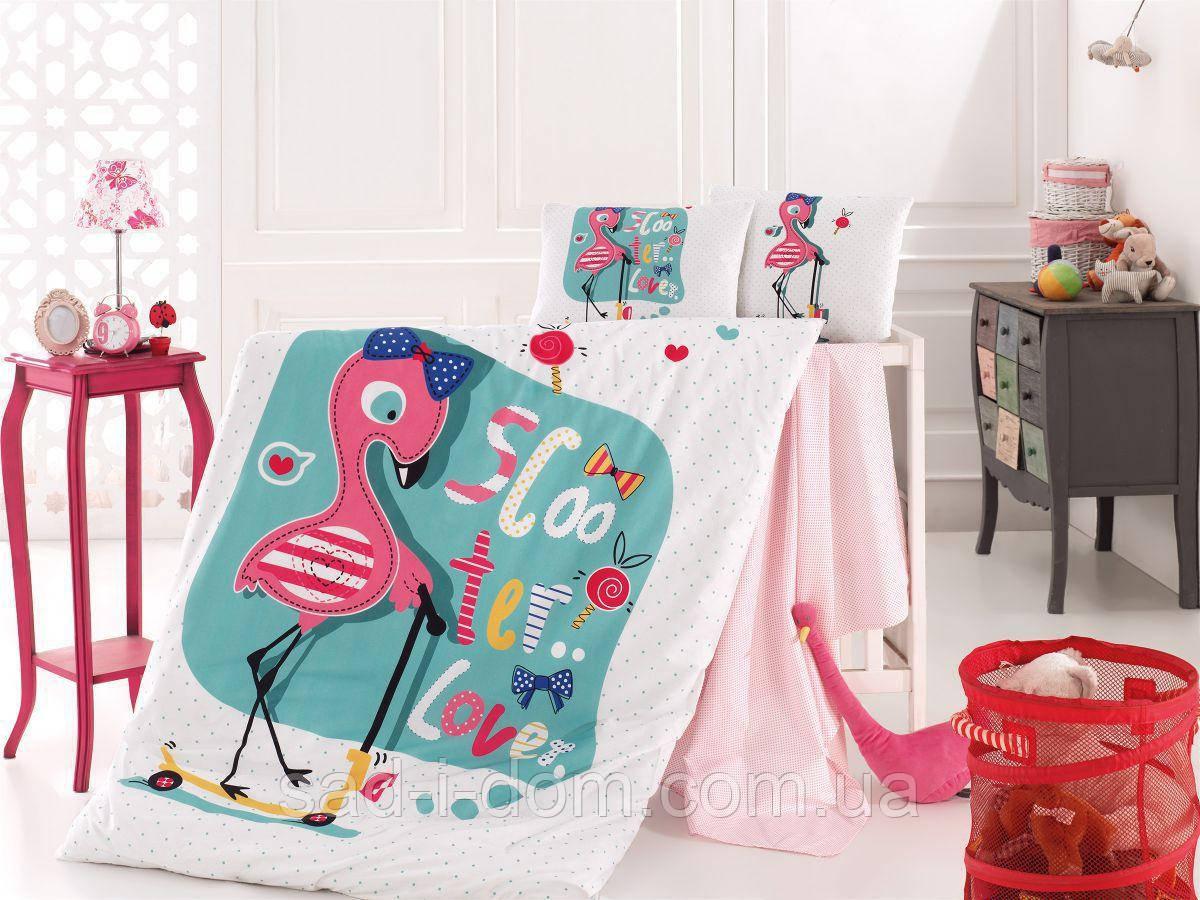 Детское постельное белье в кроватку, постельный комплект для новорожденных, Фламинго