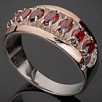 Серебряное кольцо с золотыми вставками Луна