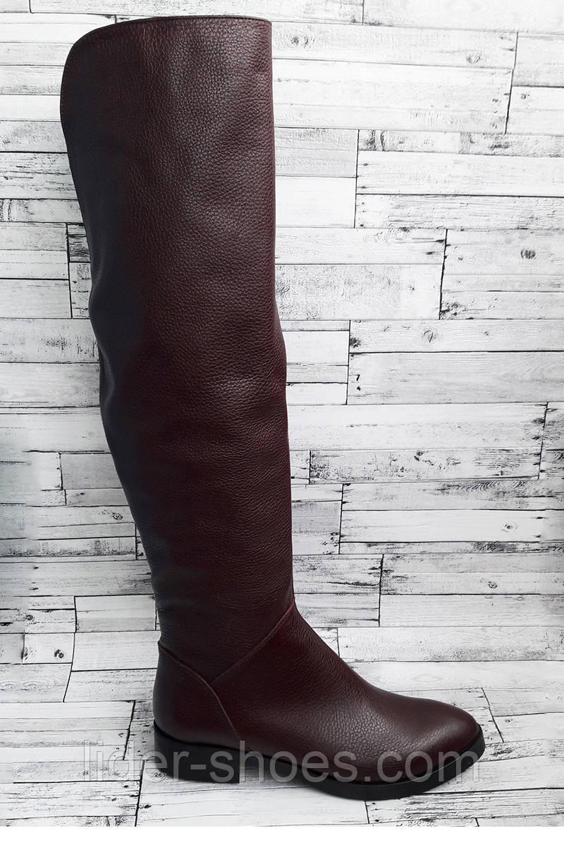 Кожаные женские ботфорты бордового цвета