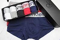 Мужские трусы Calvin Klein боксеры шорты транки брендовые в подарочной упаковке Кельвин Кляйн модель STEEL 5шт