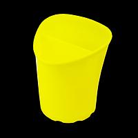 Стакан для письмового приладдя TETRIK, трикутний, на 2 відділення, жовтий