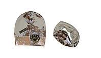 Комплект демисезонный (шапка и хомут) ТМ Nikola 19V40K бежевый цвет (52-54)