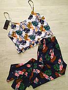 Легкий комплект для сна и отдыха майка, штаны с тропическим рисунком, фото 2