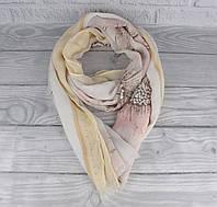 Красивый шарф, палантин Butef 0008-4 бежевый с пайетками, ромашки, фото 1
