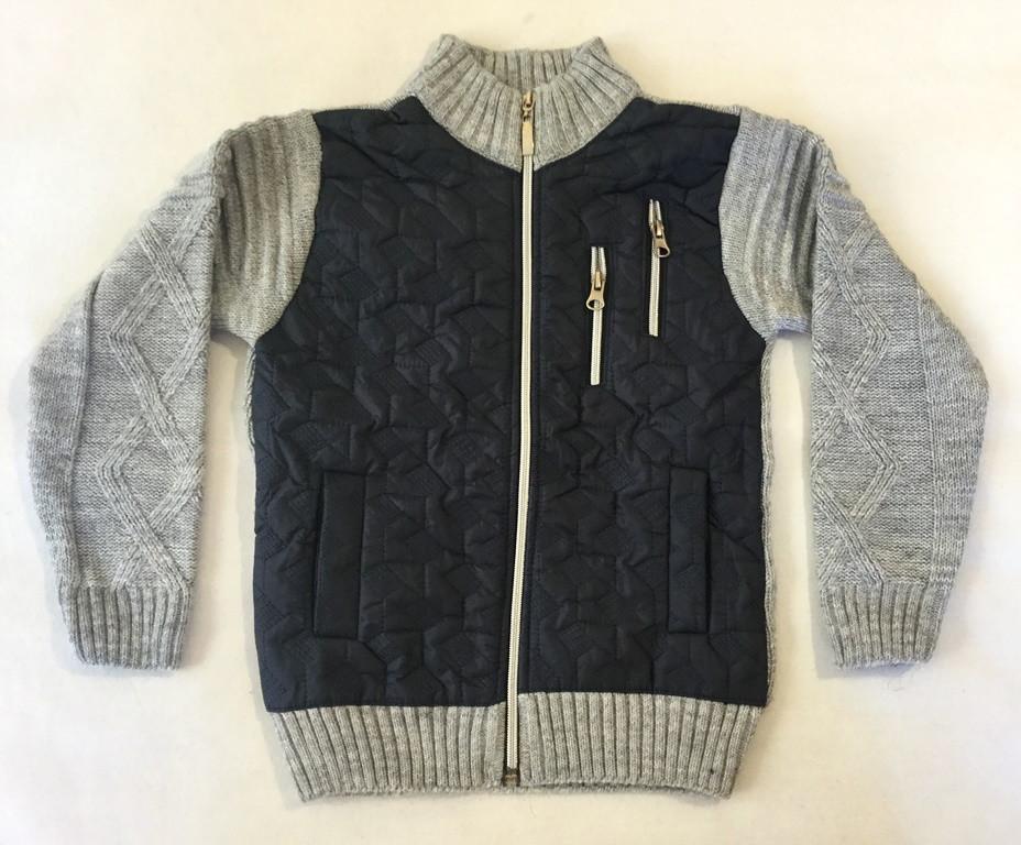 Вязанная кофта серого цвета 6-10 лет