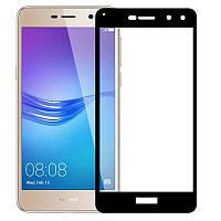 Защитное стекло для Huawei Y5 2017 (MYA-U29) Хуавей на весь экран клеится по всей поверхности черный Full Glue