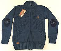 Вязанная кофта синего цвета для мальчика на 10-14 лет
