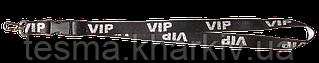 Ленты для бейджей 20 мм с карабином и фастексом чёрный/серебро