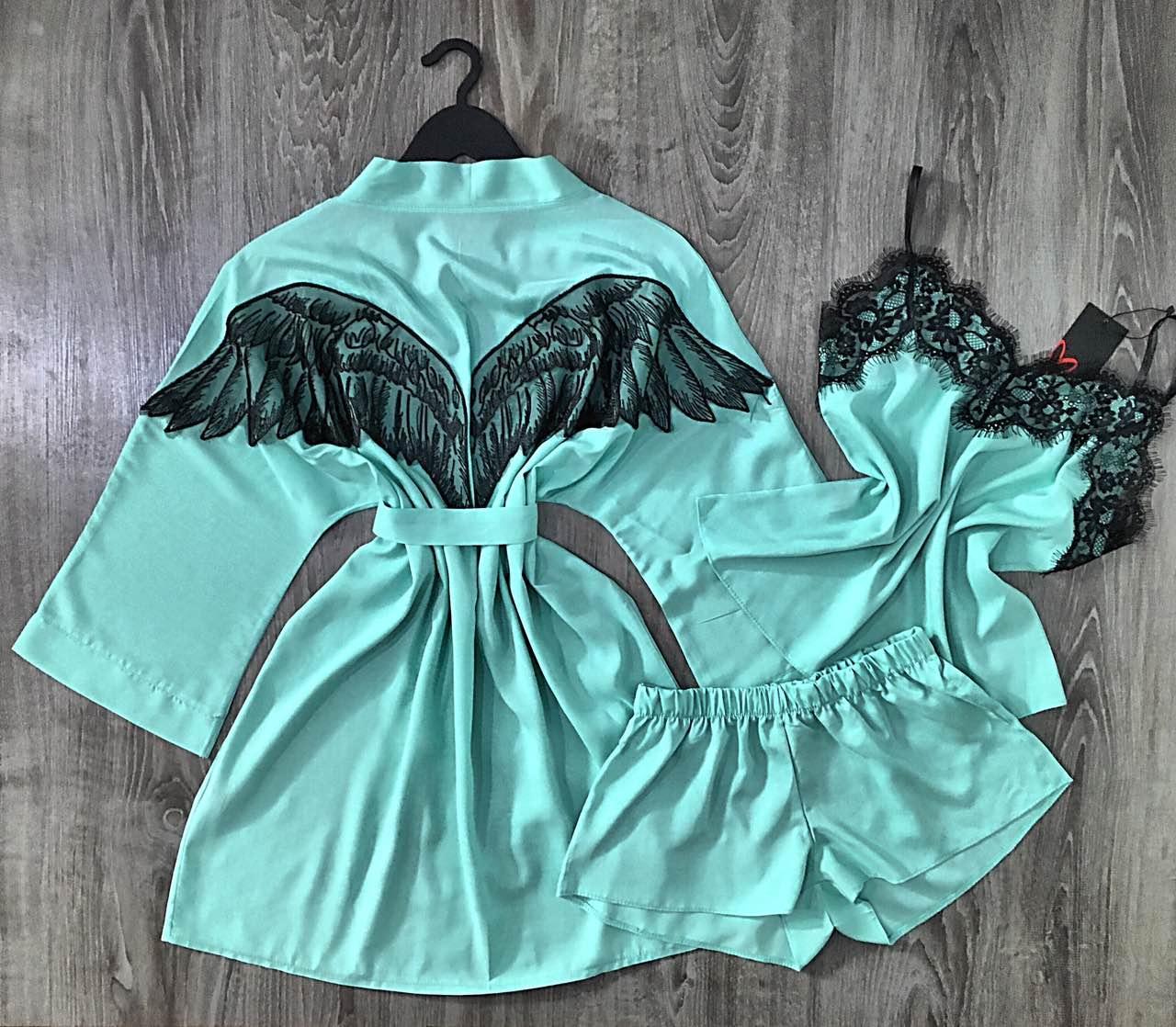 Модный комплект для дома тройка халат-майка-шорты