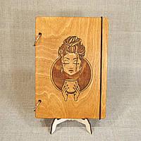 Скетчбук A5. Блокнот в деревянной обложке с индивидуальной гравировкой, фото 1