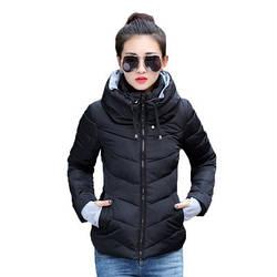 Женская Куртка Короткая Зима-Осень XXL (WO001) Черная