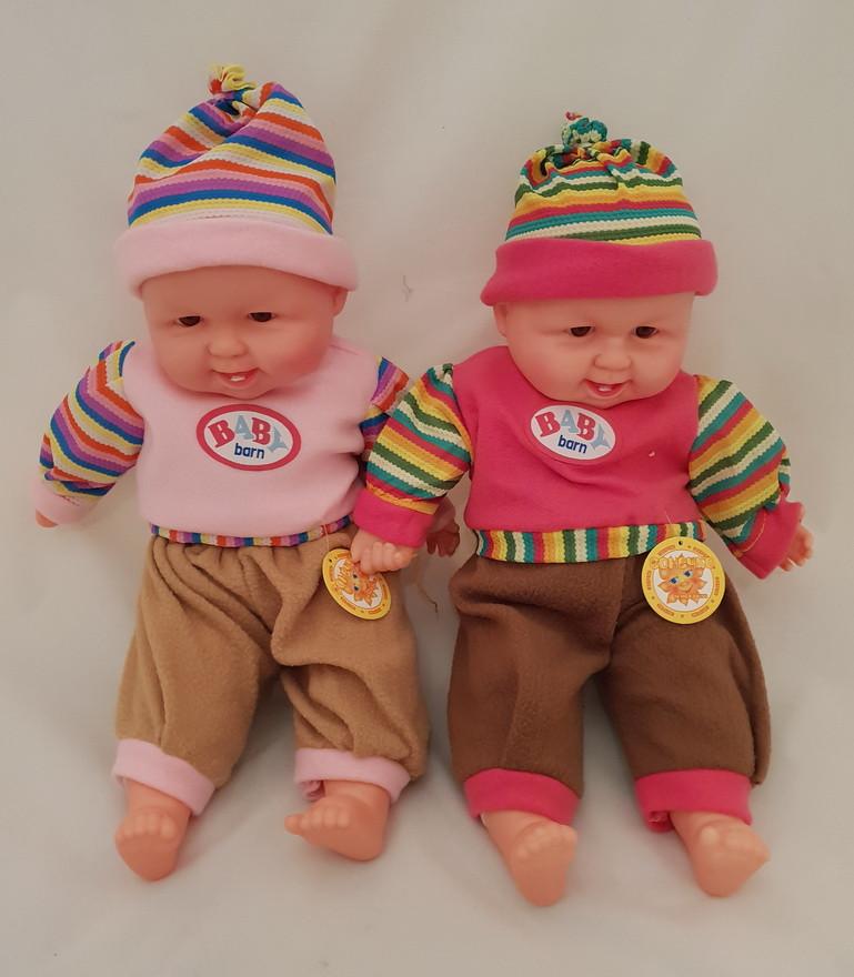 Пупс хохотун игрушка детская в одежде и шапочке 45 см