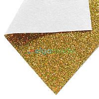 Кожзам с крупными блестками МЕДНО-ЗЕЛЕНЫЙ перламутр, 20х26 см, Китай